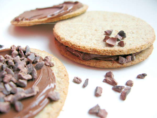 mmm, chocolatey! Nutella and oatcake sandwiches with crushed cocoa nibs | Emma Lamb