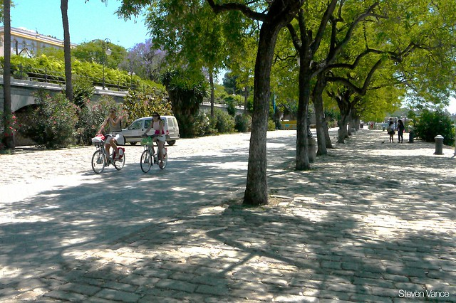 Riding Sevici bike-share on the riverfront bike path in Seville