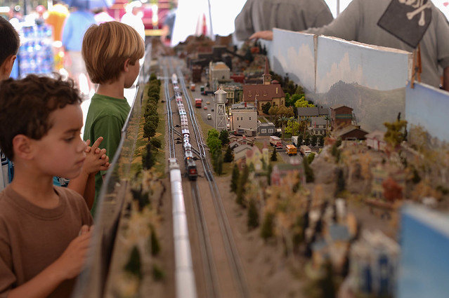 boys & miniature railroad town