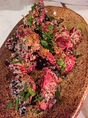 Roasted beets with yogurt and kale topping