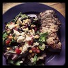 Lemon pepper pork chop, salad with corn salsa and blue cheese.