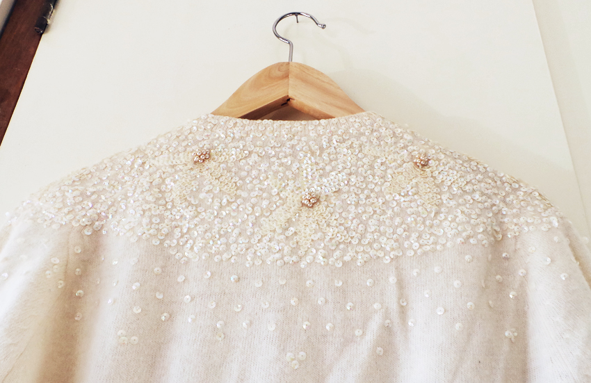 cream bead + sequin vintage cardigan d