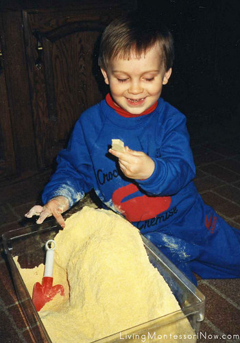 "Will at age 3 with an ""Antique"" Excavation Sensory Tub, 1988"