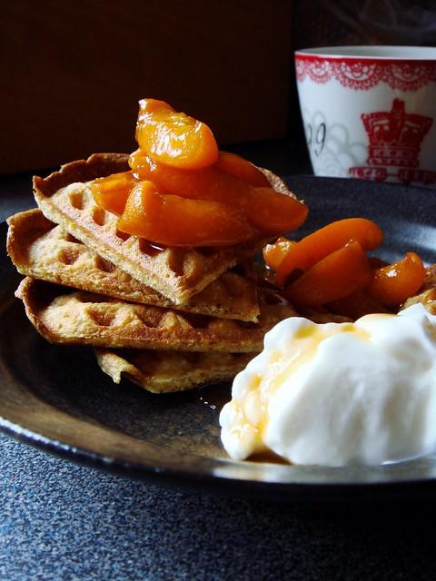 Cornmeal Waffles, Bourbon Apricot Compote, Greek Yogurt