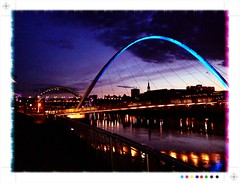 Millennium Bridge,Newcastle/Gateshead Quayside at night by davidearlgray