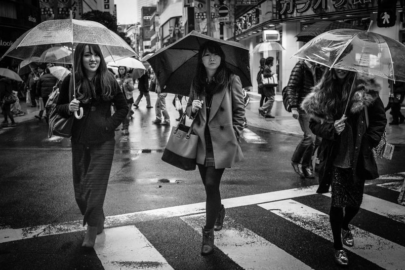 Three friendly ladies with umbrellas walking in the rain.