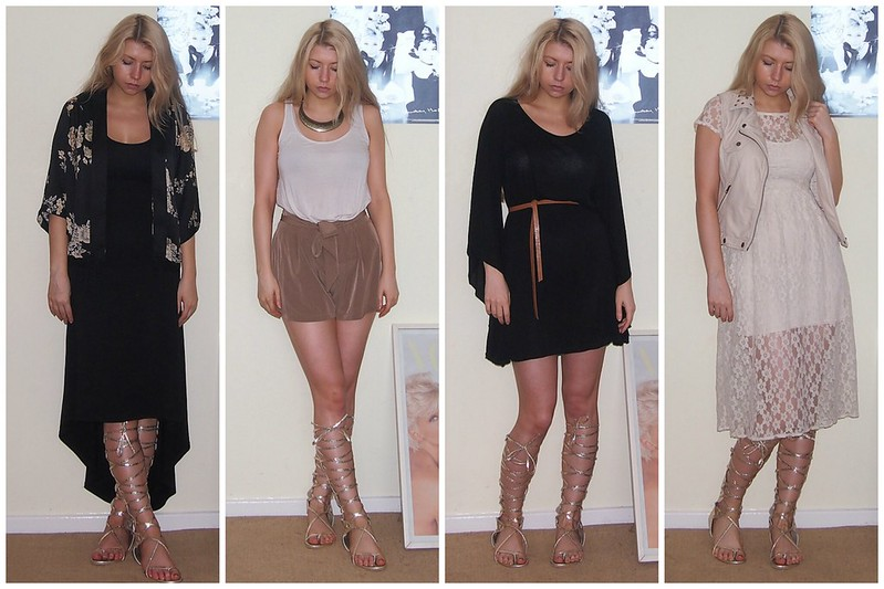 Sam Muses, UK Fashion Blog, London Style Blogger, Knee-High Gladiator Sandals, Gladiators, Gold, eBay, Chanel, Dupe, How to Wear, Primark, Mixi Dress, Kimono, High-Waisted Paperbag Shorts, Aztec Collar Necklace, Batwing Dress, Sheer Lace Midi Dress, Leather Gilet