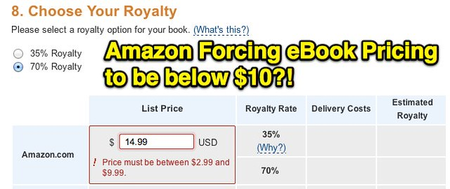 Amazon forcing eBook pricing to be below $10