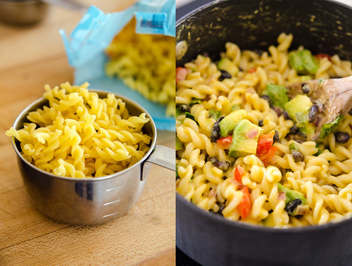"Left pic: uncooked pasta in a measuring cup: Right pic: ""Mexican"" Mac and cheese"