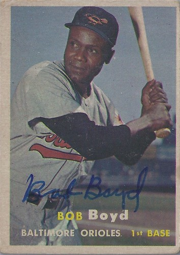 1957 Topps - Bob Boyd #26 (First Baseman) (b: 1 Oct 1919 - d: 7 Sep 2004 at age 84) - Autographed Baseball Card (Baltimore Orioles)