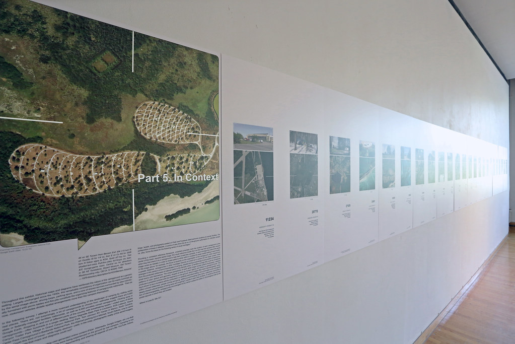 Display panels from 925,000 Campsites: The Commodification of an American Experience, illustrate the research of landscape architect Martin Hogue.