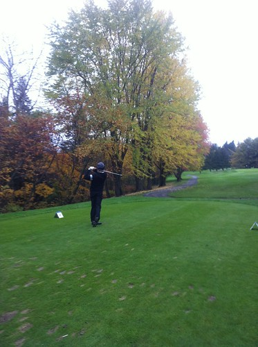 Brent Pound tees off in Round one of 2013 CCAA Nationals (Bill Bilton JR photo)