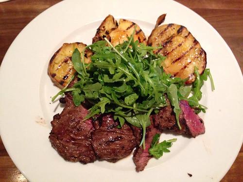 Skirt steak, sweet potatoes and arugula