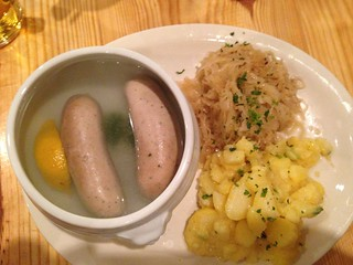 Weisswurst with Sauerkraut and Potato Salad