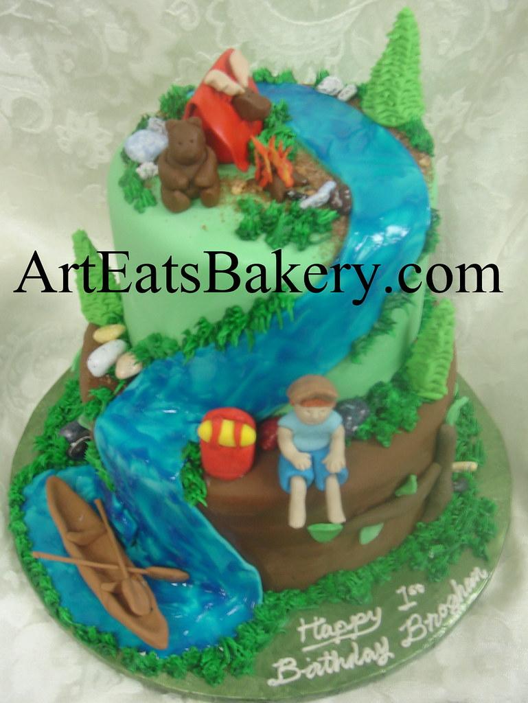 Boys 2 Tier Camping Birthday Cake Design With Edible Canoe