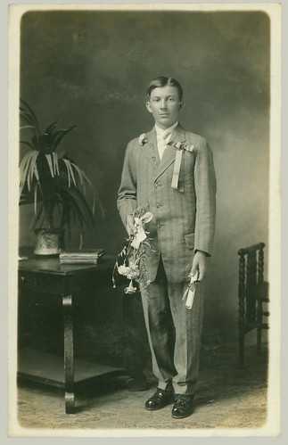 RPPC boy with flowers