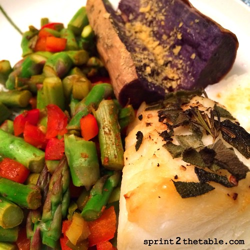 sea bass and purple sweet potato