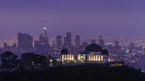 california usa night sunrise dawn lights la losangeles cityscape purple cities skylines layers griffithpark griffithobservatory