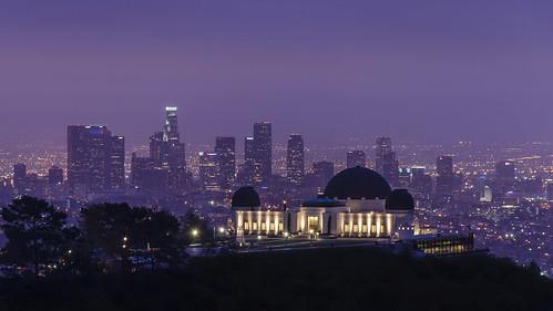 california usa night sunrise dawn lights la losangeles cityscape purple cities skylines layers griffithpark griffithobservatory
