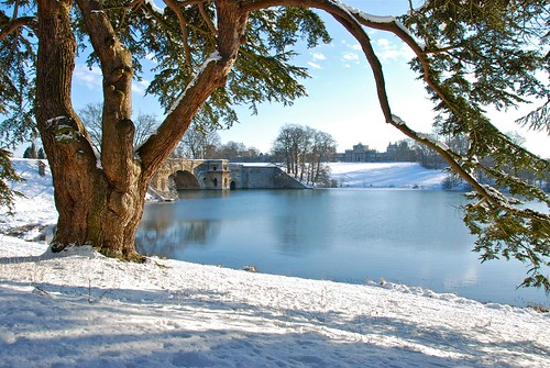 Blenheim Palace and grounds covered in snow