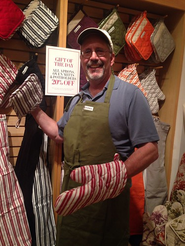 Now my #CondoSeniors have me modeling aprons and oven mitts @WilliamsSonoma