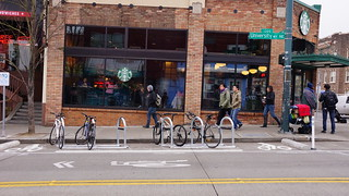 New SDOT bike parking on the corner of University and 42nd