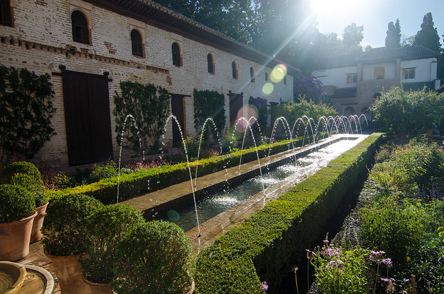 The Court of the Main Canal, a focal feature of the Generalife Gardens at the Alhambra.