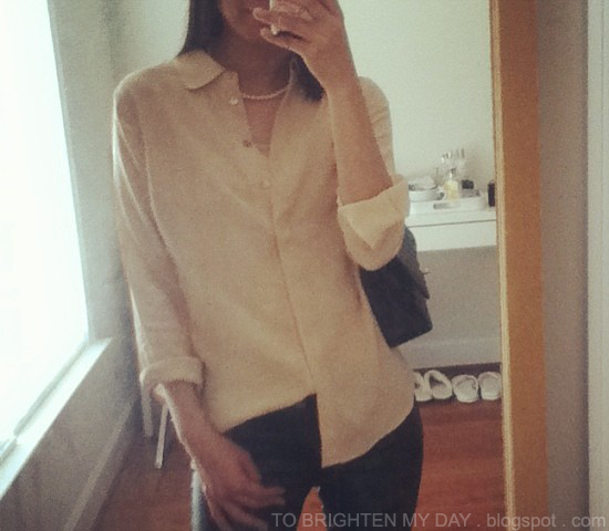 Everlane silk blouse in nude