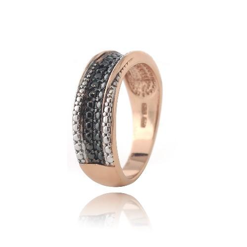 18k rosegold umknicken 925er silber schwarzer diamant akcent verdreht ring ebay. Black Bedroom Furniture Sets. Home Design Ideas