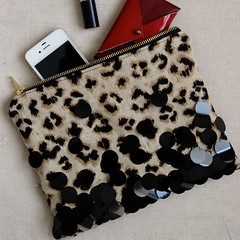 Sequin + Leopard Zippered Clutch