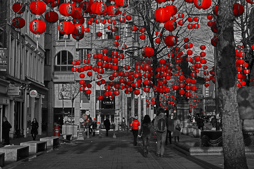 Lanterns in St Annes Square, Manchester, for the Chinese New Year
