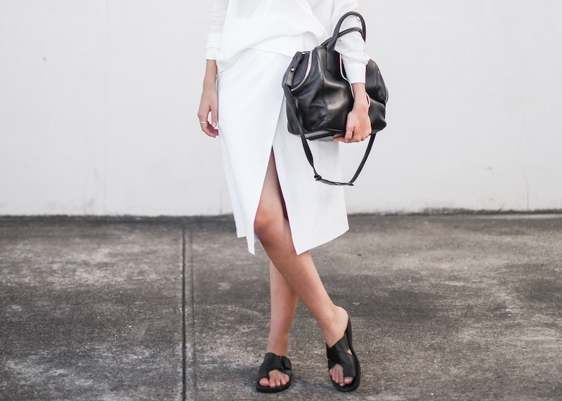modern legacy fashion street style blog australia Christopher Esber flip split midi skirt drape blouse Witchery Alexander Wang Chastity chain tote bag slide sandals white on white (3 of 9)