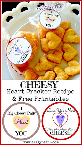 Cheesy Valentine Heart Cracker Recipe and Free Printables - The Silly Pearl