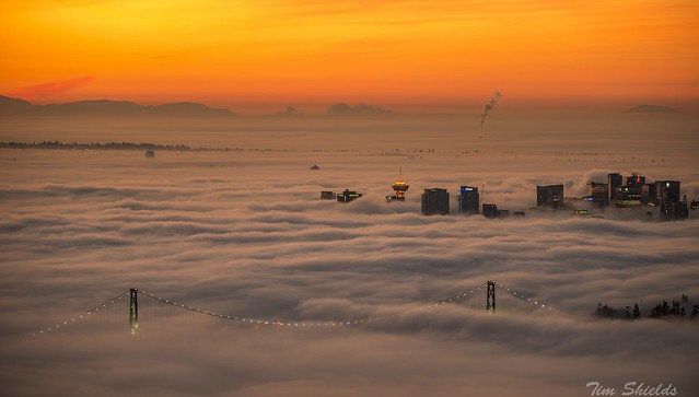 Vancouver sunrise over fog