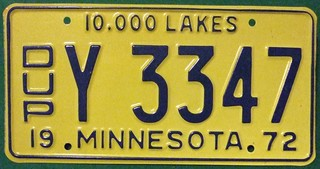 MINNESOTA 1972--- DUPLICATE LICENSE PLATE