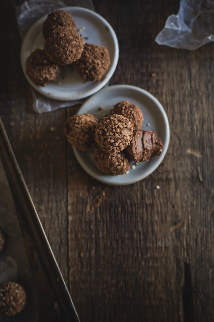 raw vegan chocolate truffles: almond butter + cayenne + hemp seed