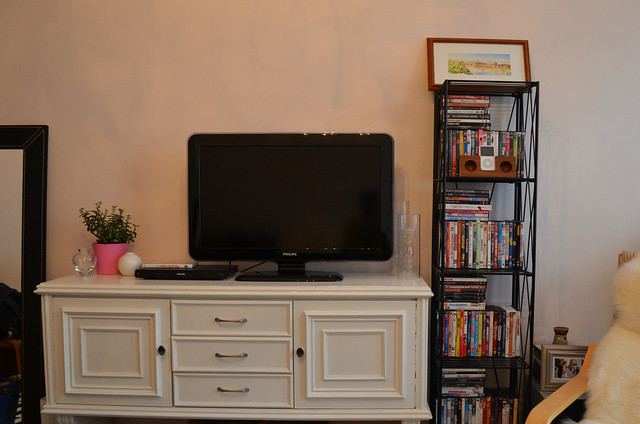berlin apartment_tv console and movie shelf