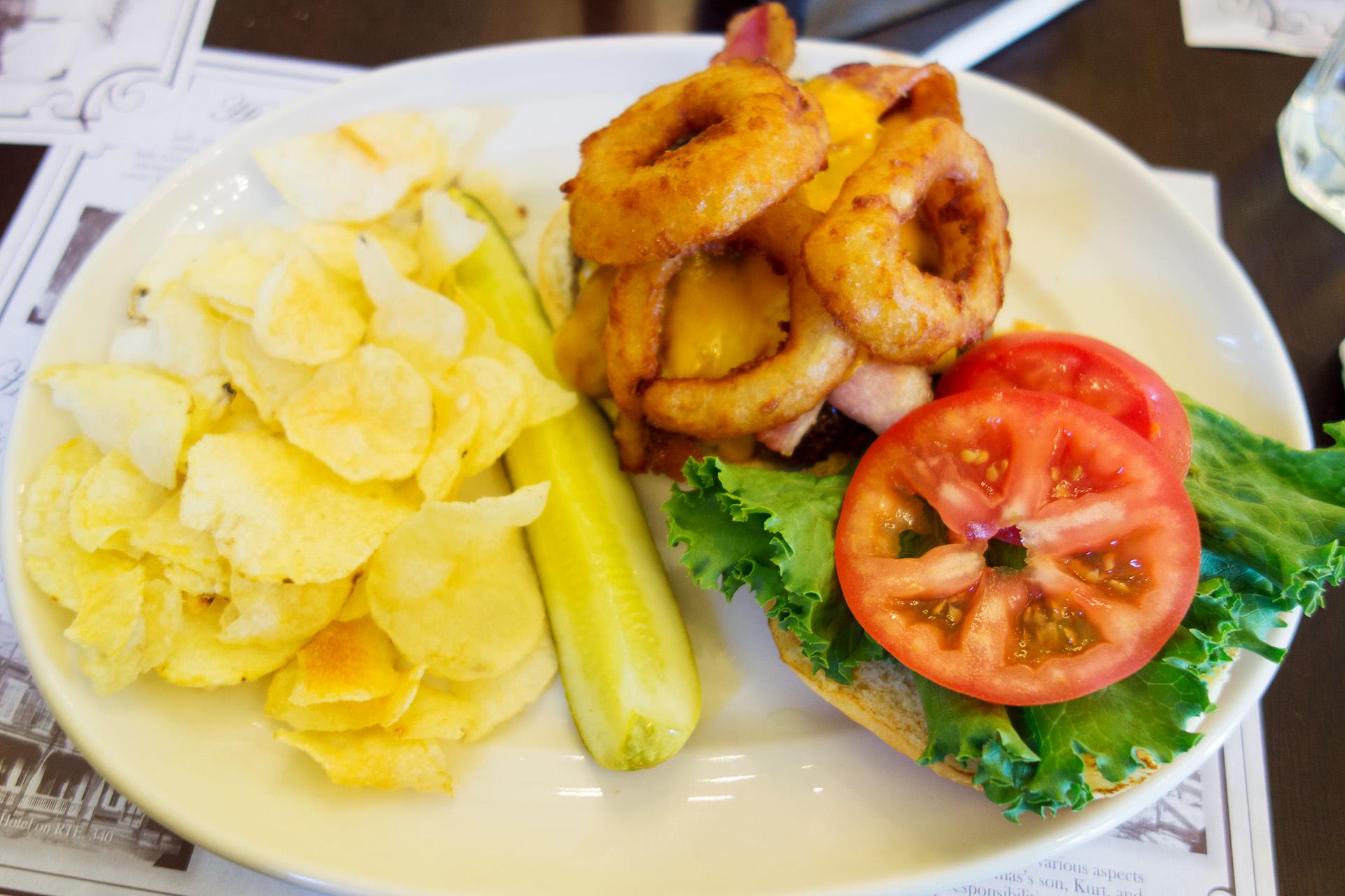 Juicy burger, Olde Mill Restaurant.