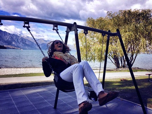 Lina enjoying the swing on the lake in Queenstown