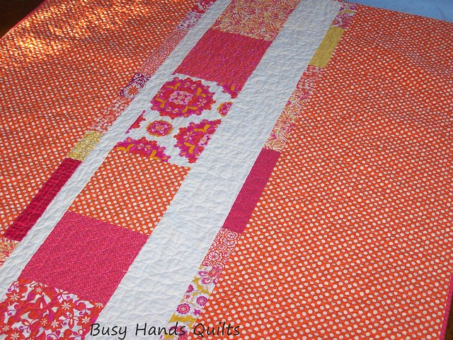 Hello Sunshine - Orange and Pink Strip Quilt