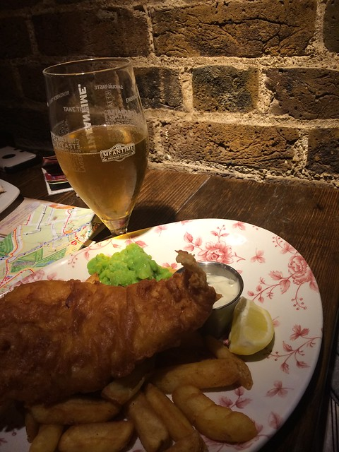 fish and chips and lager