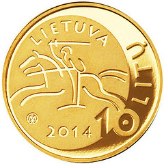 Lithuania 10 litu coin on science obverse