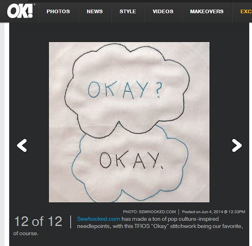 OK Magazine Features by #tfios embroidery