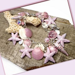 polymer clay Dusty Pink Starfish & Seashell bracelet