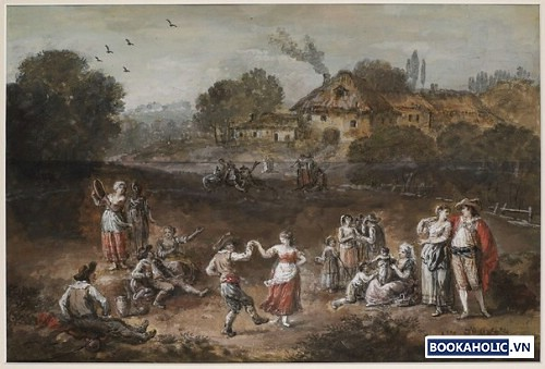 An extensive Landscape with Figures Dancing, Courting and Merry Making, and Farmhouses beyond
