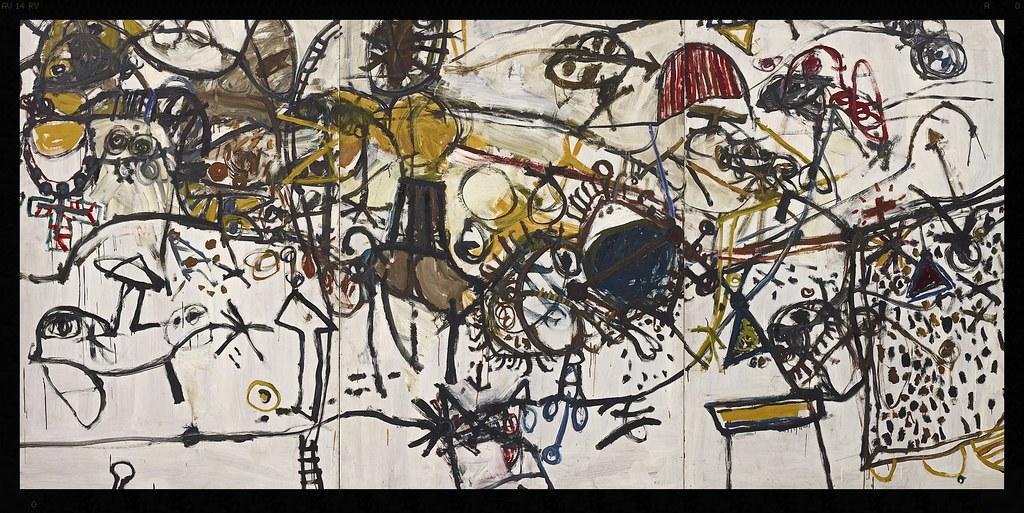 John Olsen born Australia 1928, lived in Europe 1956–60, 1965–67 Spanish encounter 1960 oil on composition board 183.0 x 366.0 cm Art Gallery of New South Wales, Sydney Purchased 1960 © John Olsen, administered by Viscopy, Sydney