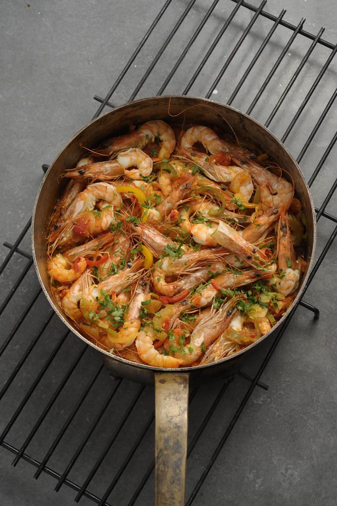 340 Ragoût de crevettes et poivrons comme à Thessalonique