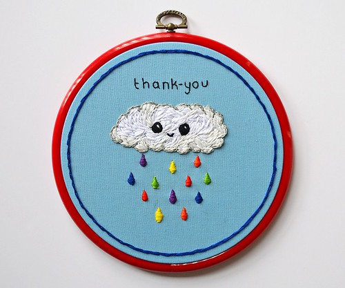 Thank you embroidery hoop art