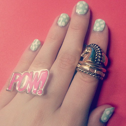 Happy #ManiMonday! I got some cute rings at F21 on my lunch break. New post at www.xomia.com