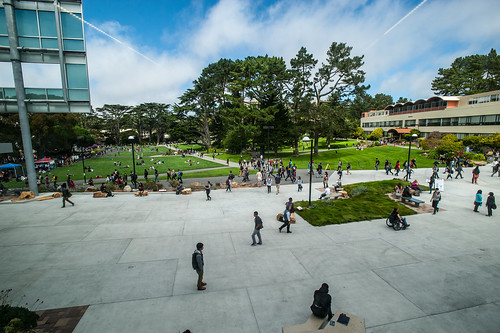 View of SF State Quad from the library